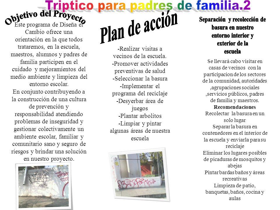 Triptico para padres de familia.2 Separación y recolección de