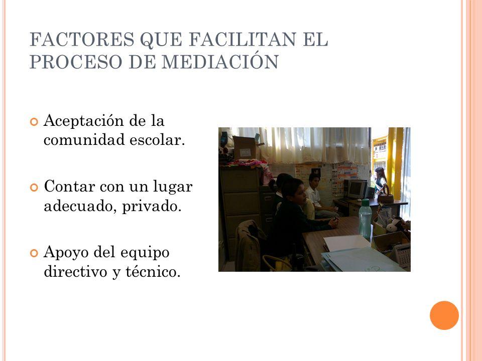 FACTORES QUE FACILITAN EL PROCESO DE MEDIACIÓN