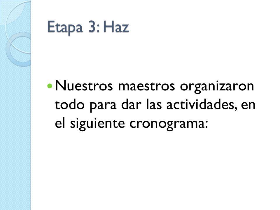 Etapa 3: HazNuestros maestros organizaron todo para dar las actividades, en el siguiente cronograma: