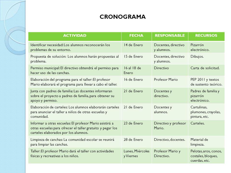 CRONOGRAMA ACTIVIDAD FECHA RESPONSABLE RECURSOS
