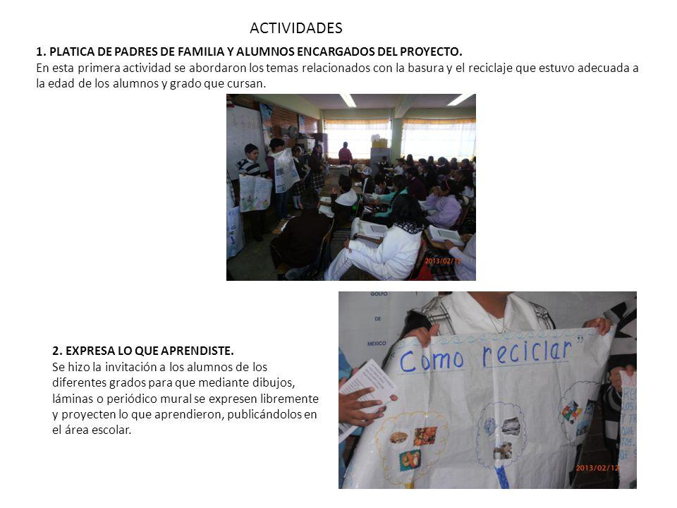 ACTIVIDADES 1. PLATICA DE PADRES DE FAMILIA Y ALUMNOS ENCARGADOS DEL PROYECTO.
