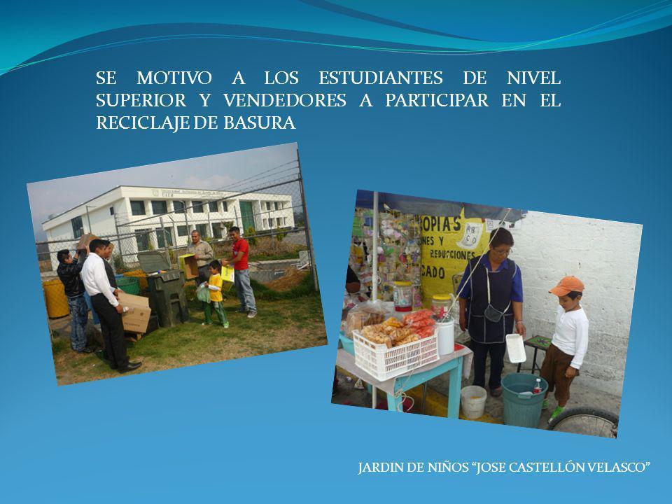 SE MOTIVO A LOS ESTUDIANTES DE NIVEL SUPERIOR Y VENDEDORES A PARTICIPAR EN EL RECICLAJE DE BASURA