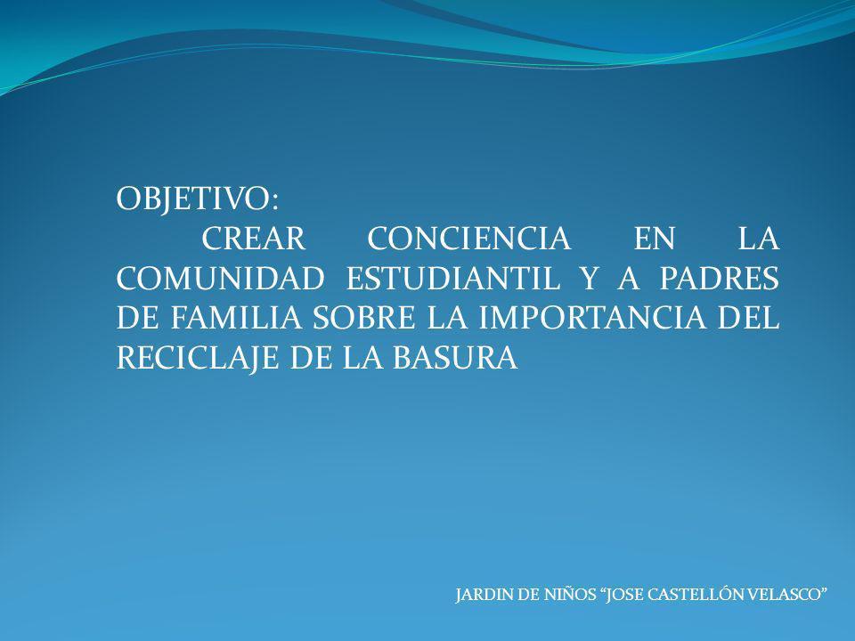 OBJETIVO: CREAR CONCIENCIA EN LA COMUNIDAD ESTUDIANTIL Y A PADRES DE FAMILIA SOBRE LA IMPORTANCIA DEL RECICLAJE DE LA BASURA.