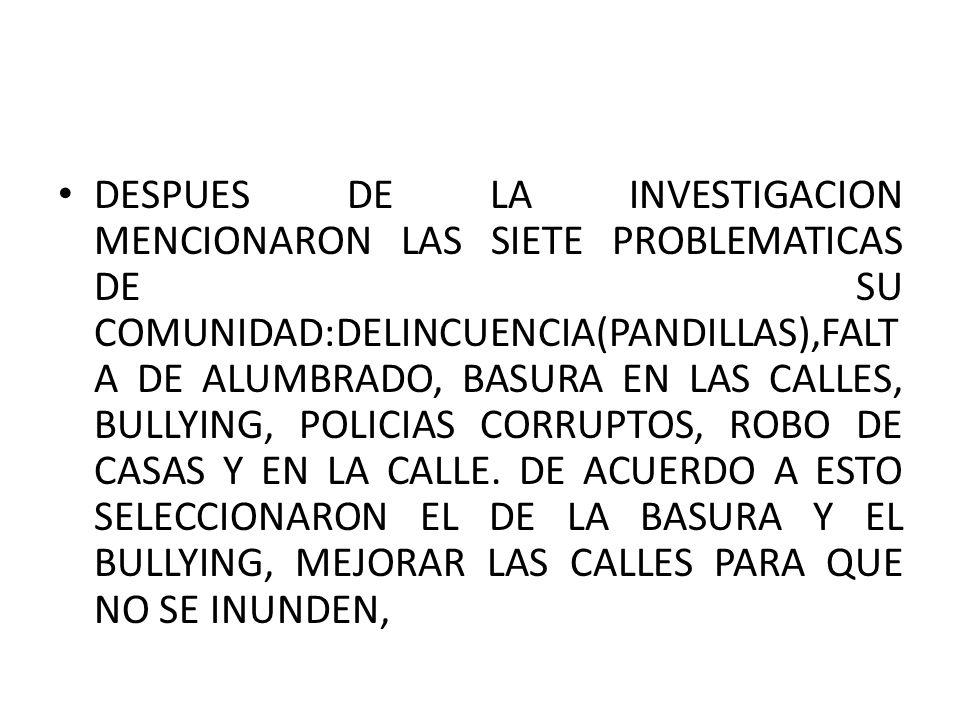 DESPUES DE LA INVESTIGACION MENCIONARON LAS SIETE PROBLEMATICAS DE SU COMUNIDAD:DELINCUENCIA(PANDILLAS),FALTA DE ALUMBRADO, BASURA EN LAS CALLES, BULLYING, POLICIAS CORRUPTOS, ROBO DE CASAS Y EN LA CALLE.