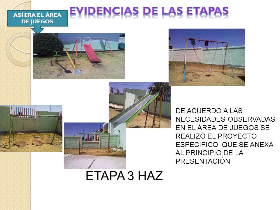 EVIDENCIAS DE LAS ETAPAS ASÍ ERA EL ÁREA DE JUEGOS
