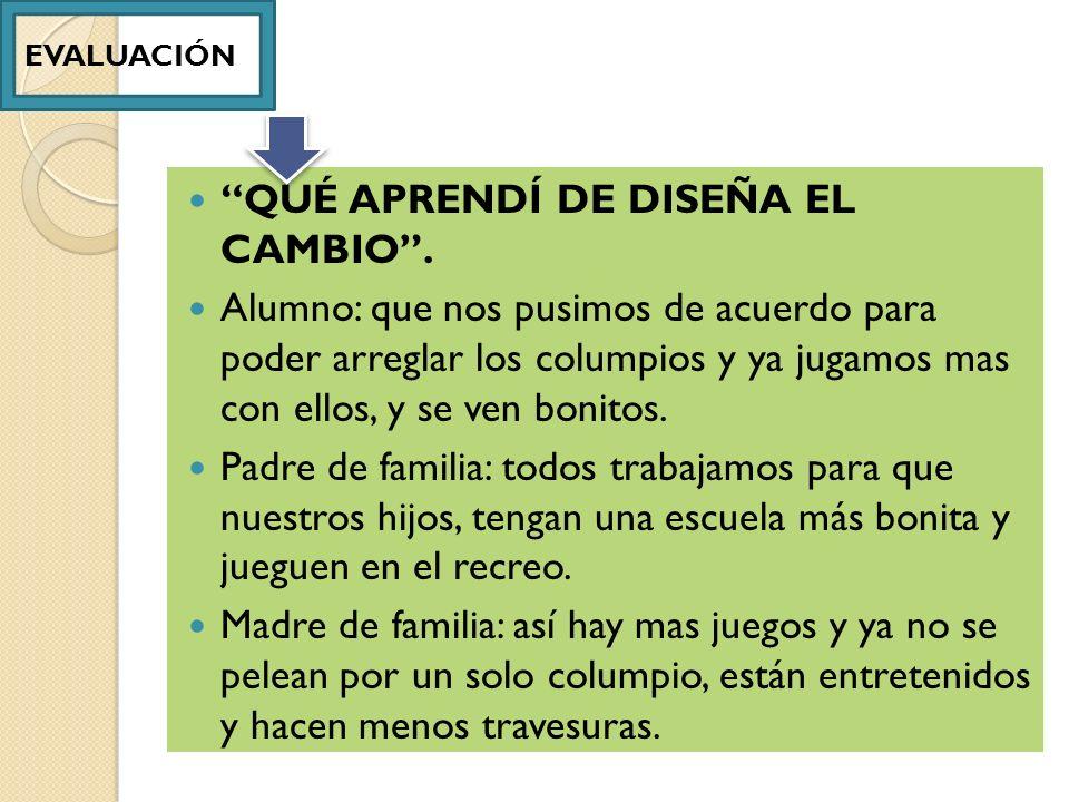QUÉ APRENDÍ DE DISEÑA EL CAMBIO .