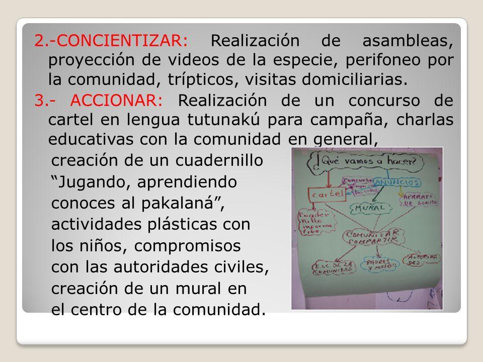 2.-CONCIENTIZAR: Realización de asambleas, proyección de videos de la especie, perifoneo por la comunidad, trípticos, visitas domiciliarias.