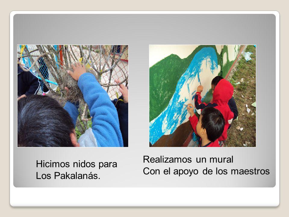 Realizamos un mural Con el apoyo de los maestros Hicimos nidos para Los Pakalanás.