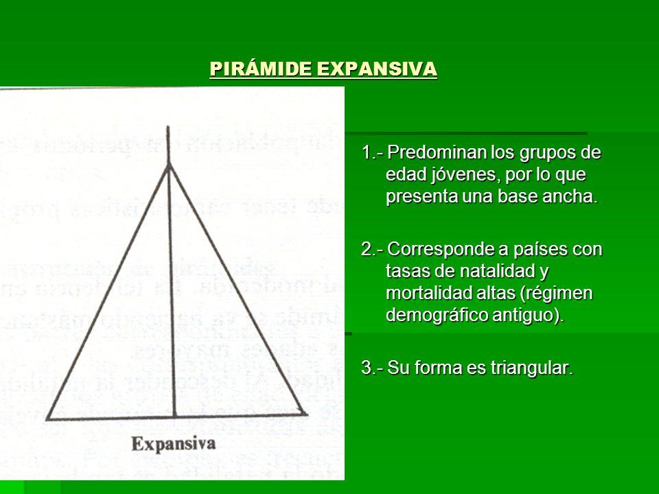 PIRÁMIDE EXPANSIVA1.- Predominan los grupos de edad jóvenes, por lo que presenta una base ancha.