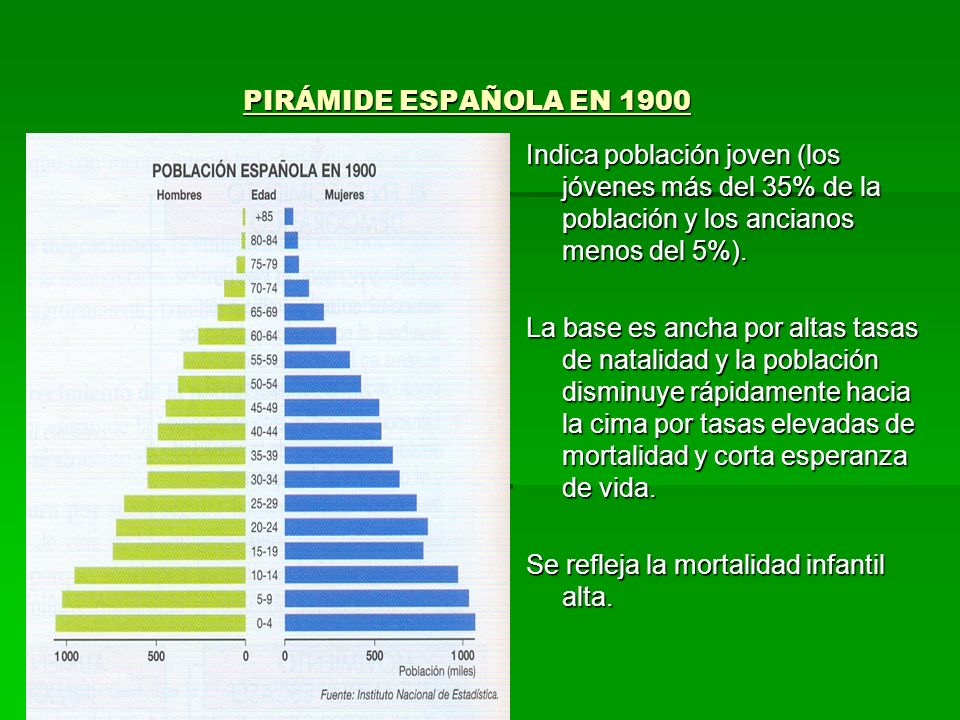 PIRÁMIDE ESPAÑOLA EN 1900Indica población joven (los jóvenes más del 35% de la población y los ancianos menos del 5%).