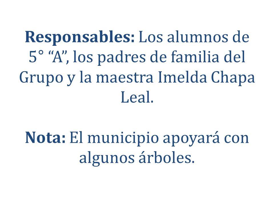 Responsables: Los alumnos de 5° A , los padres de familia del Grupo y la maestra Imelda Chapa Leal.