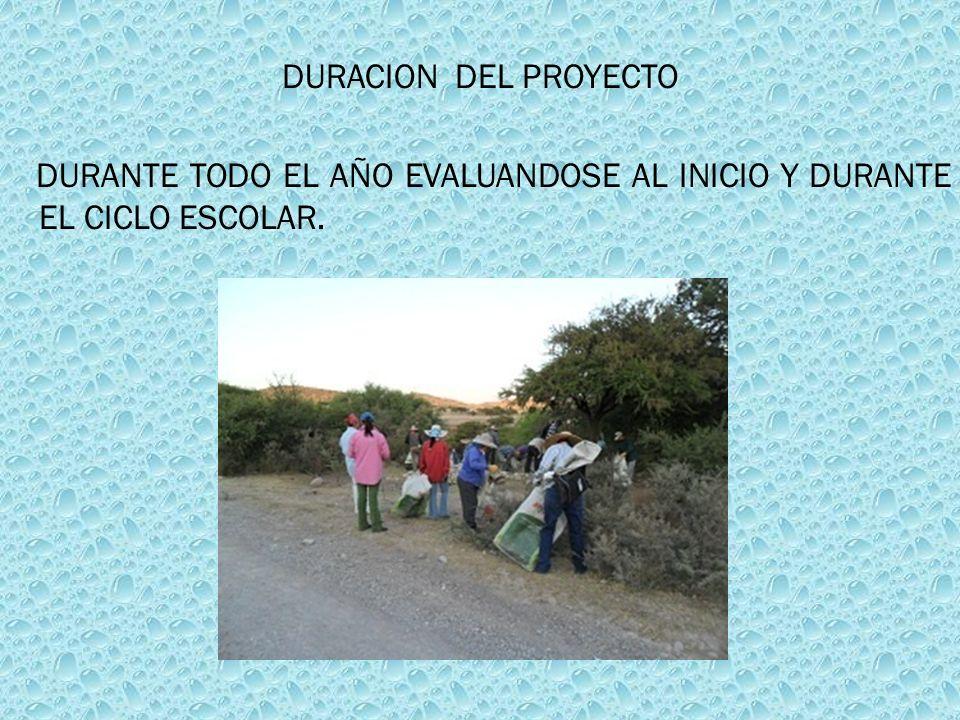 DURACION DEL PROYECTO DURANTE TODO EL AÑO EVALUANDOSE AL INICIO Y DURANTE EL CICLO ESCOLAR.