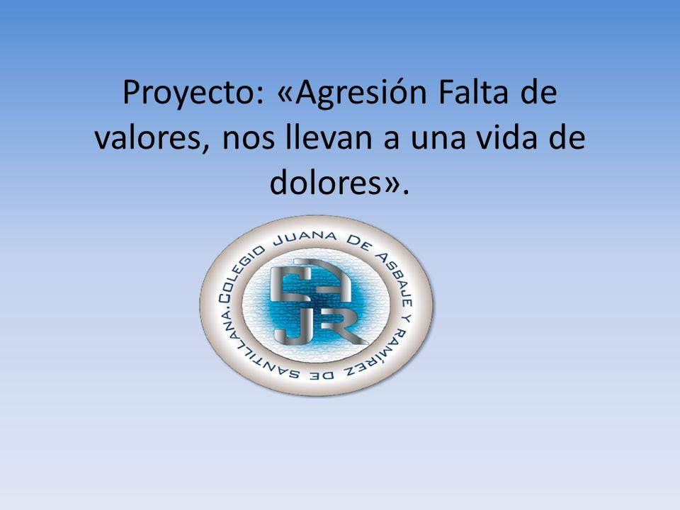 Proyecto: «Agresión Falta de valores, nos llevan a una vida de dolores».
