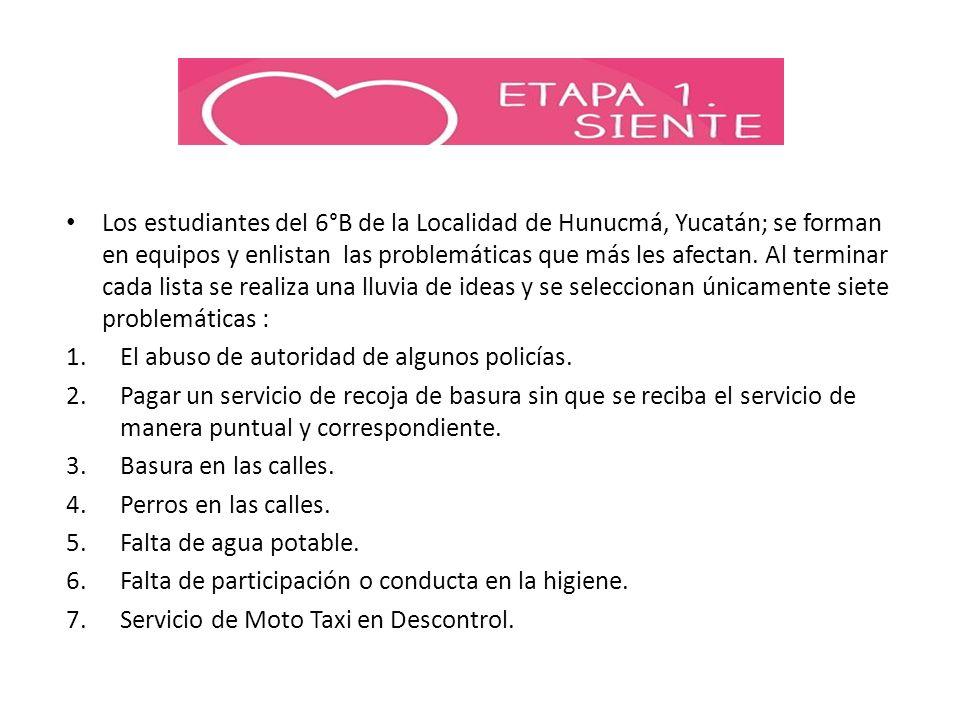 Los estudiantes del 6°B de la Localidad de Hunucmá, Yucatán; se forman en equipos y enlistan las problemáticas que más les afectan. Al terminar cada lista se realiza una lluvia de ideas y se seleccionan únicamente siete problemáticas :