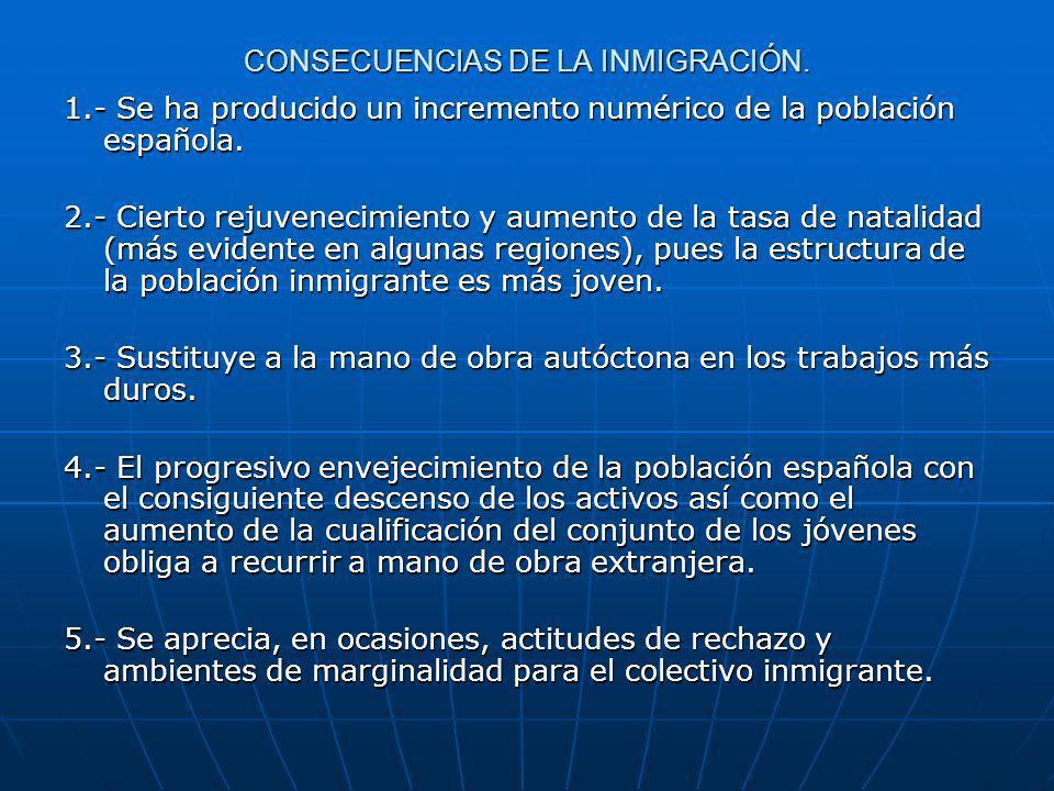 CONSECUENCIAS DE LA INMIGRACIÓN.