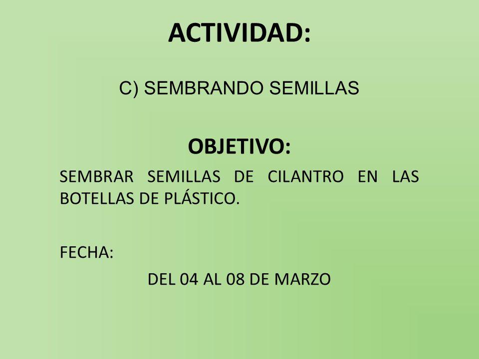 ACTIVIDAD: OBJETIVO: C) SEMBRANDO SEMILLAS