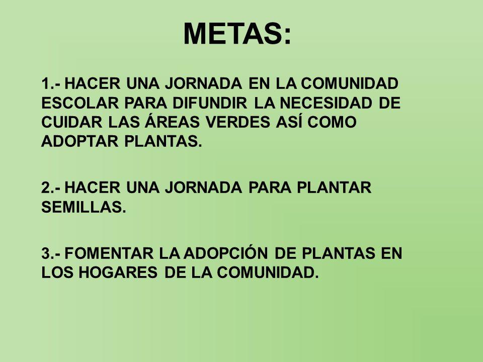 METAS: 1.- HACER UNA JORNADA EN LA COMUNIDAD ESCOLAR PARA DIFUNDIR LA NECESIDAD DE CUIDAR LAS ÁREAS VERDES ASÍ COMO ADOPTAR PLANTAS.