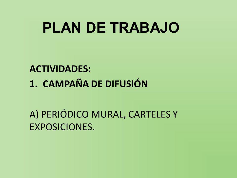 PLAN DE TRABAJO ACTIVIDADES: CAMPAÑA DE DIFUSIÓN