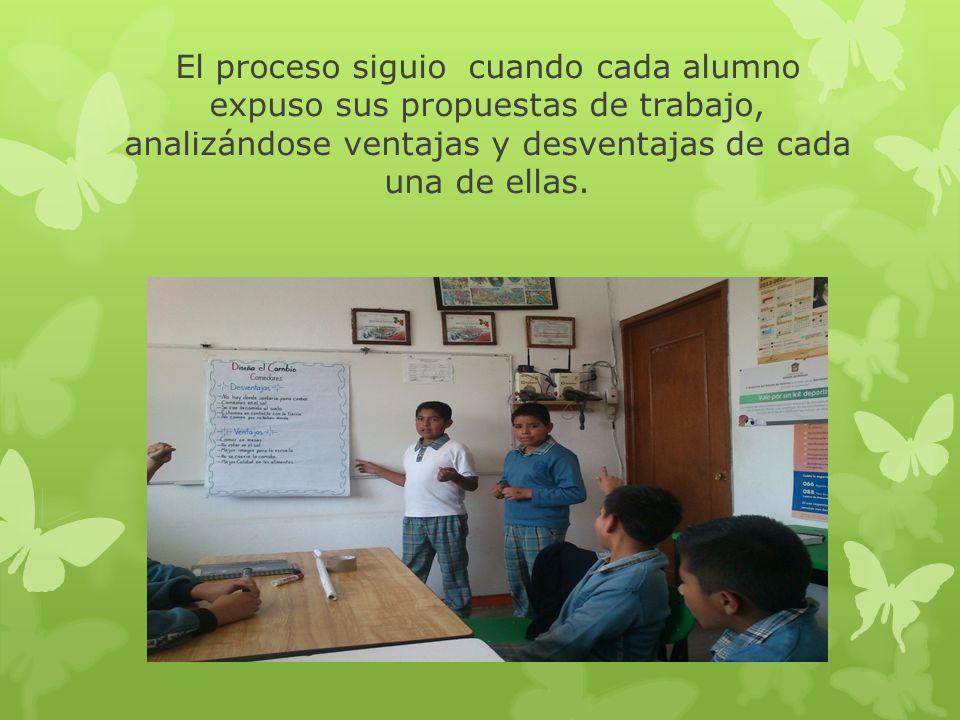 El proceso siguio cuando cada alumno expuso sus propuestas de trabajo, analizándose ventajas y desventajas de cada una de ellas.