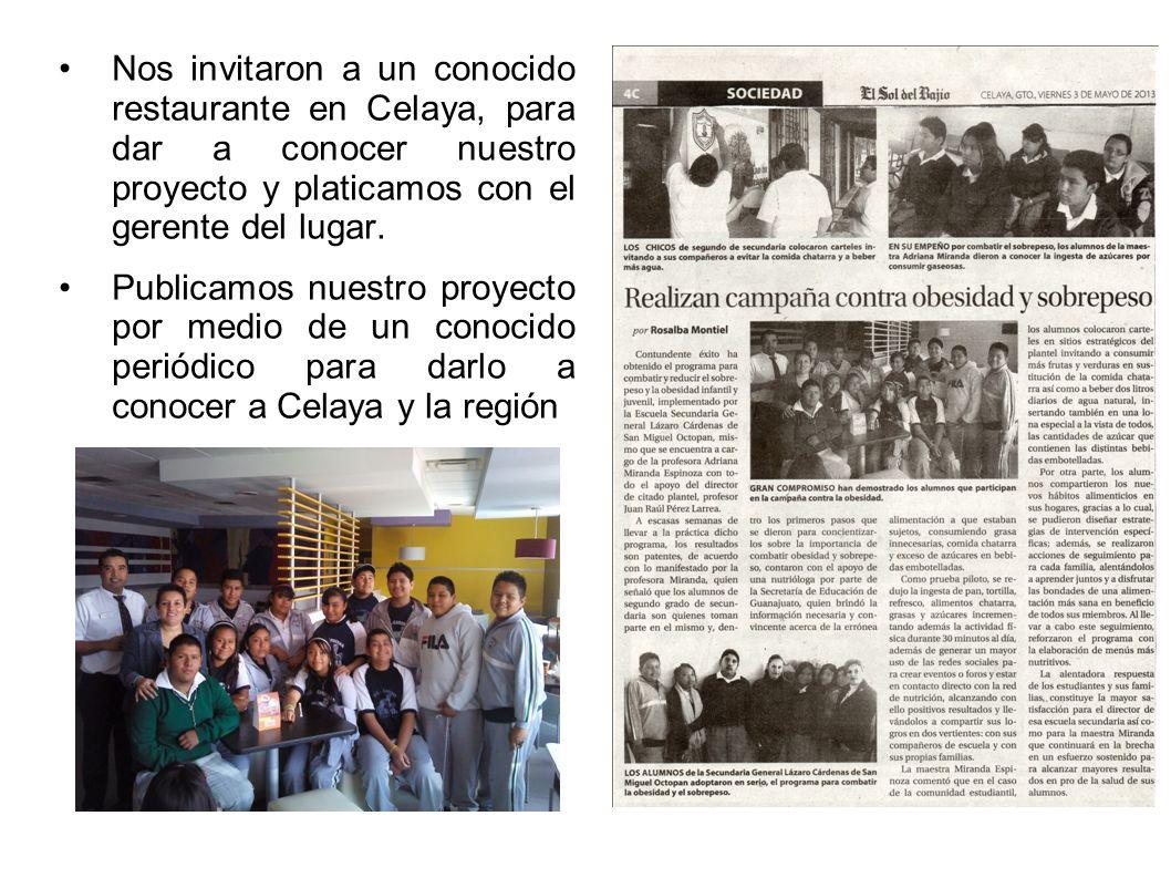 Nos invitaron a un conocido restaurante en Celaya, para dar a conocer nuestro proyecto y platicamos con el gerente del lugar.