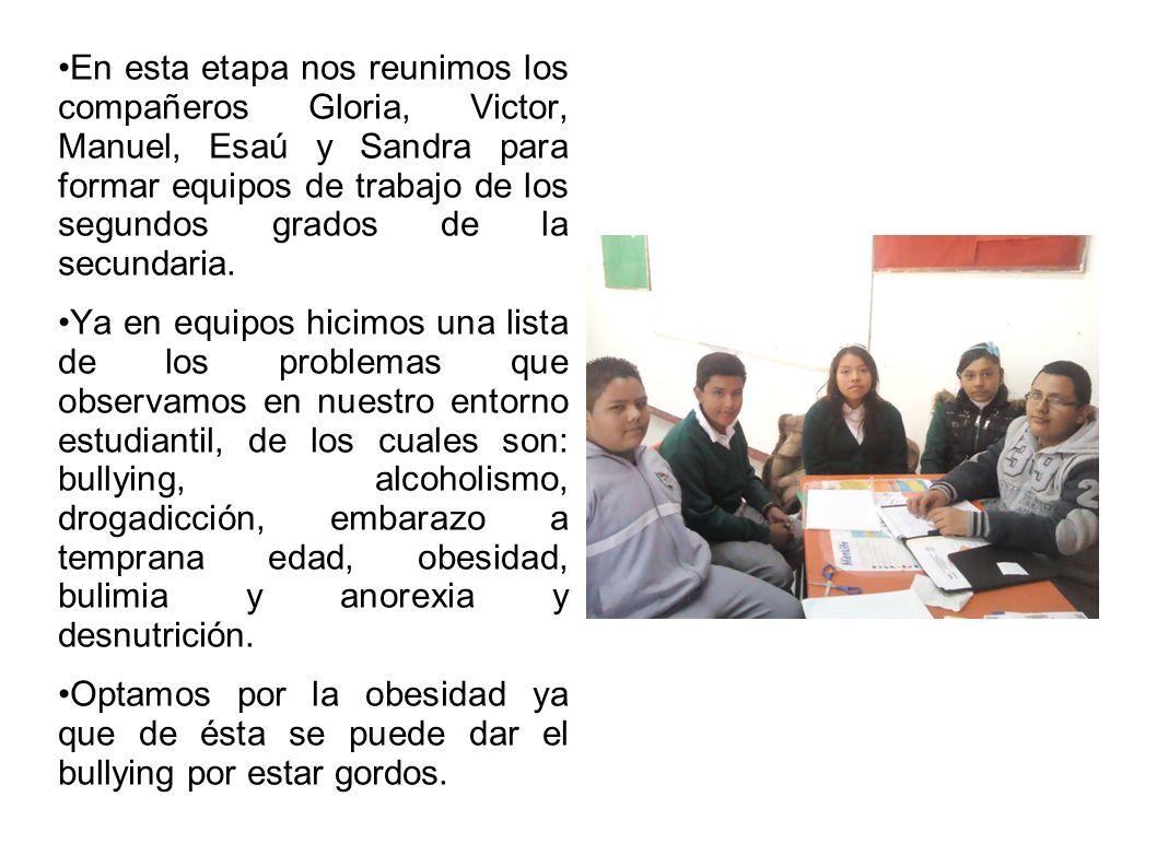 En esta etapa nos reunimos los compañeros Gloria, Victor, Manuel, Esaú y Sandra para formar equipos de trabajo de los segundos grados de la secundaria.