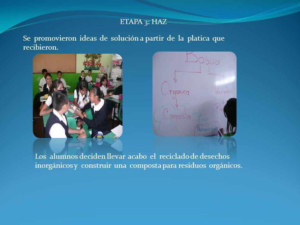 ETAPA 3: HAZ Se promovieron ideas de solución a partir de la platica que recibieron.