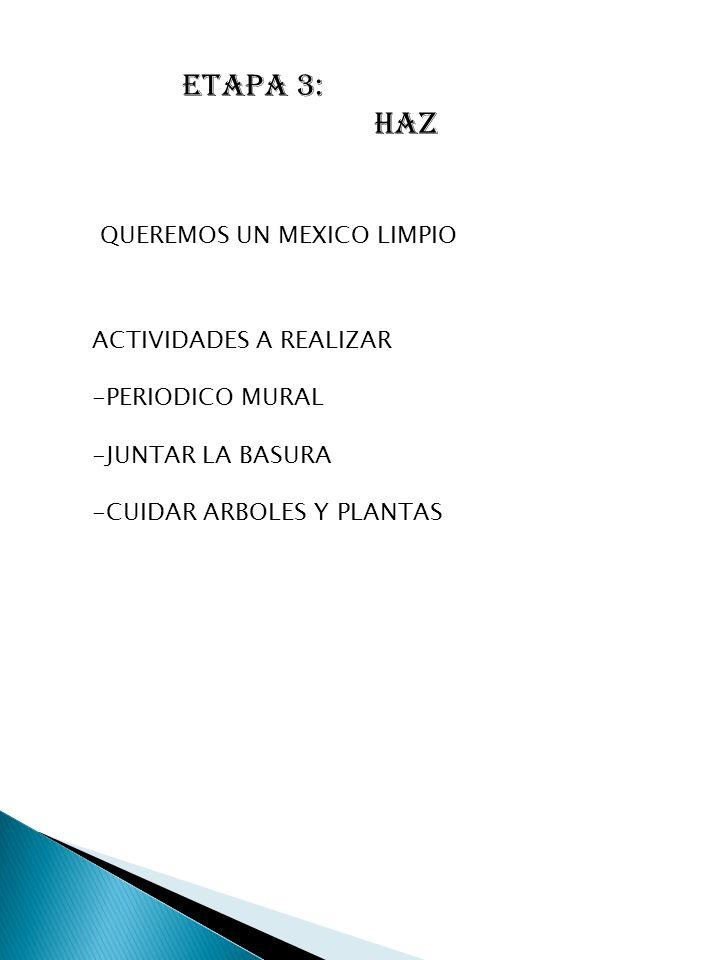 ETAPA 3: HAZ QUEREMOS UN MEXICO LIMPIO ACTIVIDADES A REALIZAR