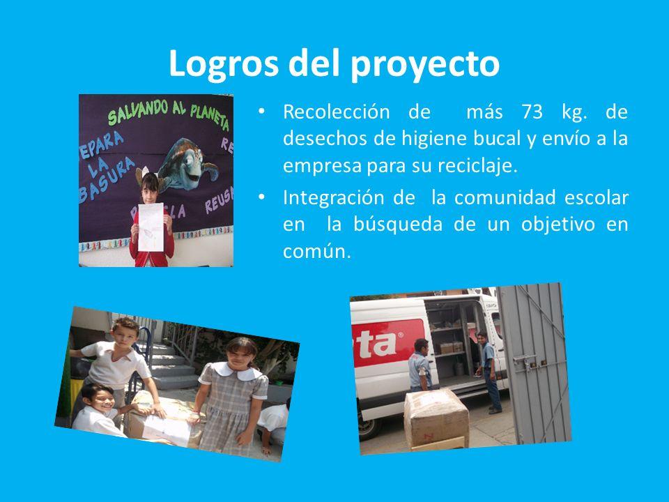 Logros del proyecto Recolección de más 73 kg. de desechos de higiene bucal y envío a la empresa para su reciclaje.