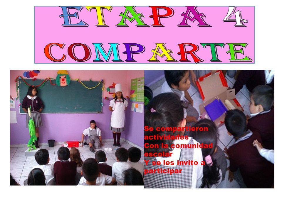 Etapa 4 COMPARTE Se compartieron actividades Con la comunidad escolar