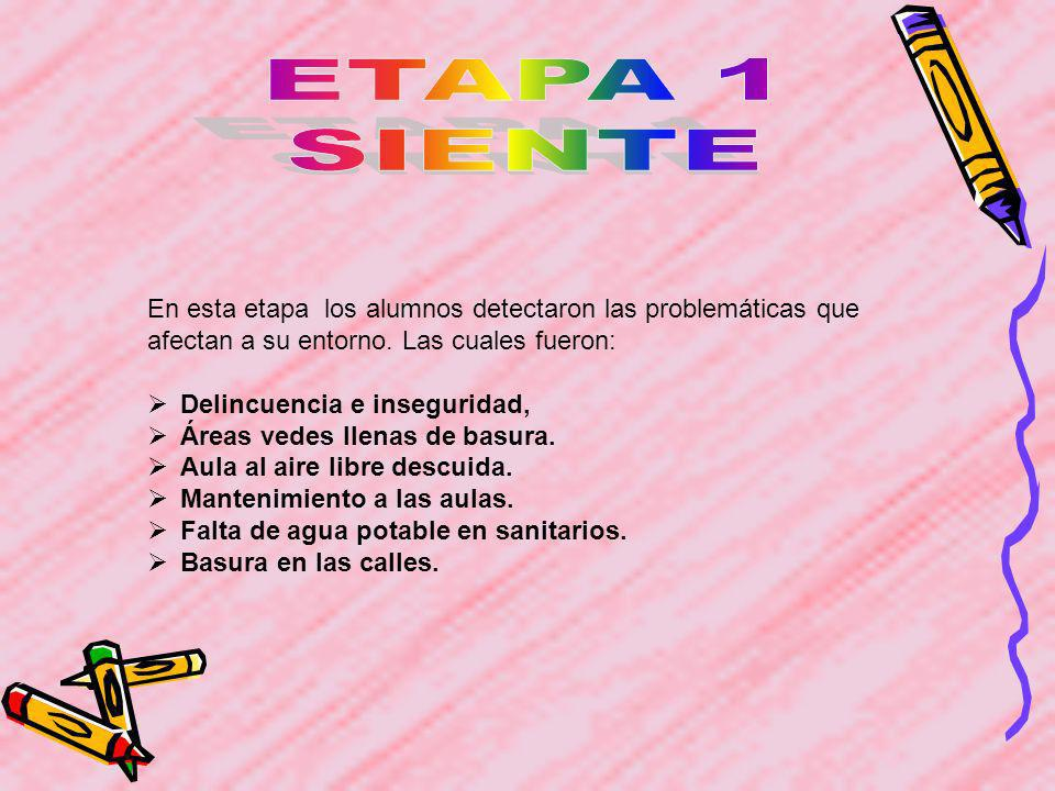 ETAPA 1 SIENTE. En esta etapa los alumnos detectaron las problemáticas que afectan a su entorno. Las cuales fueron:
