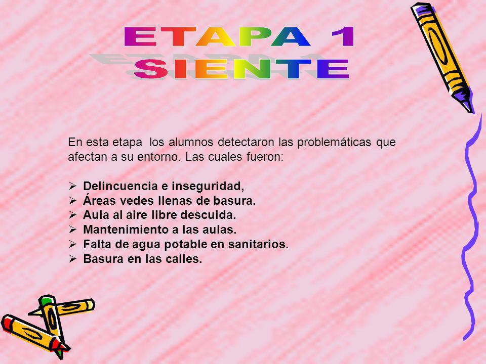 ETAPA 1SIENTE. En esta etapa los alumnos detectaron las problemáticas que afectan a su entorno. Las cuales fueron: