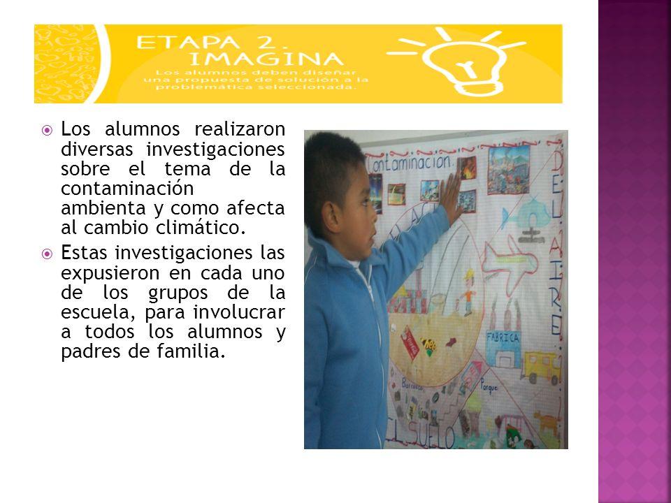 Los alumnos realizaron diversas investigaciones sobre el tema de la contaminación ambienta y como afecta al cambio climático.