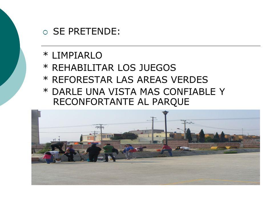 SE PRETENDE: * LIMPIARLO. * REHABILITAR LOS JUEGOS.