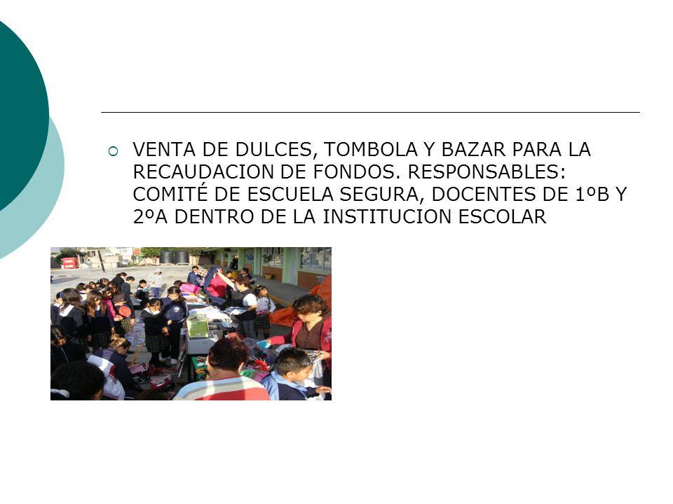 VENTA DE DULCES, TOMBOLA Y BAZAR PARA LA RECAUDACION DE FONDOS