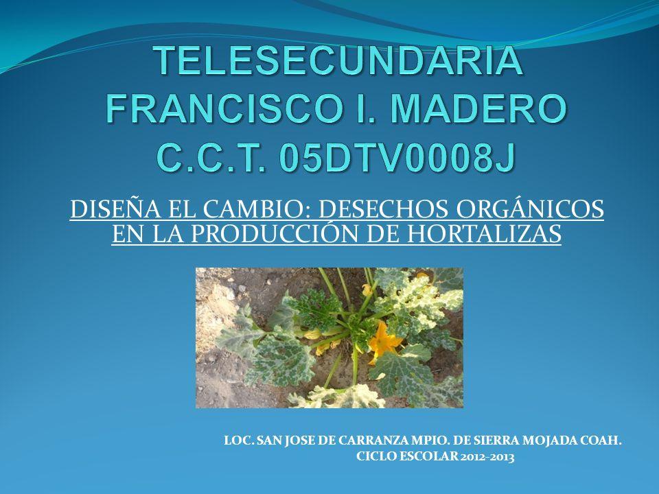 TELESECUNDARIA FRANCISCO I. MADERO C.C.T. 05DTV0008J
