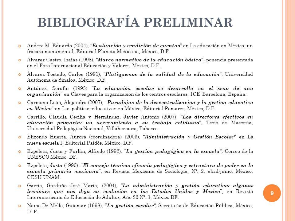 BIBLIOGRAFÍA PRELIMINAR