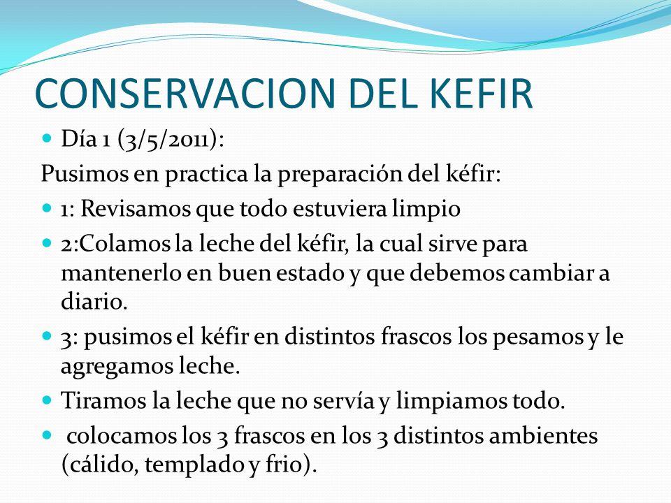CONSERVACION DEL KEFIR