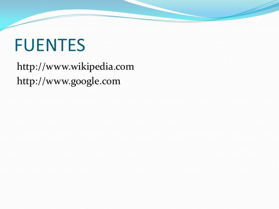FUENTES http://www.wikipedia.com http://www.google.com