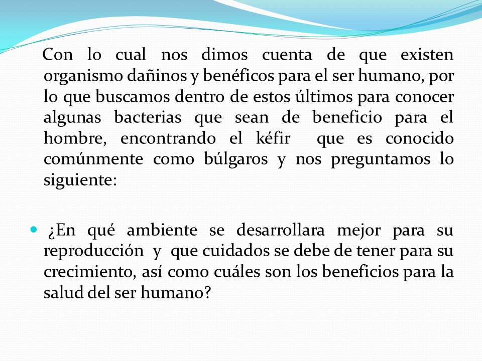 Con lo cual nos dimos cuenta de que existen organismo dañinos y benéficos para el ser humano, por lo que buscamos dentro de estos últimos para conocer algunas bacterias que sean de beneficio para el hombre, encontrando el kéfir que es conocido comúnmente como búlgaros y nos preguntamos lo siguiente:
