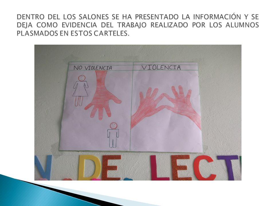 DENTRO DEL LOS SALONES SE HA PRESENTADO LA INFORMACIÓN Y SE DEJA COMO EVIDENCIA DEL TRABAJO REALIZADO POR LOS ALUMNOS PLASMADOS EN ESTOS CARTELES.