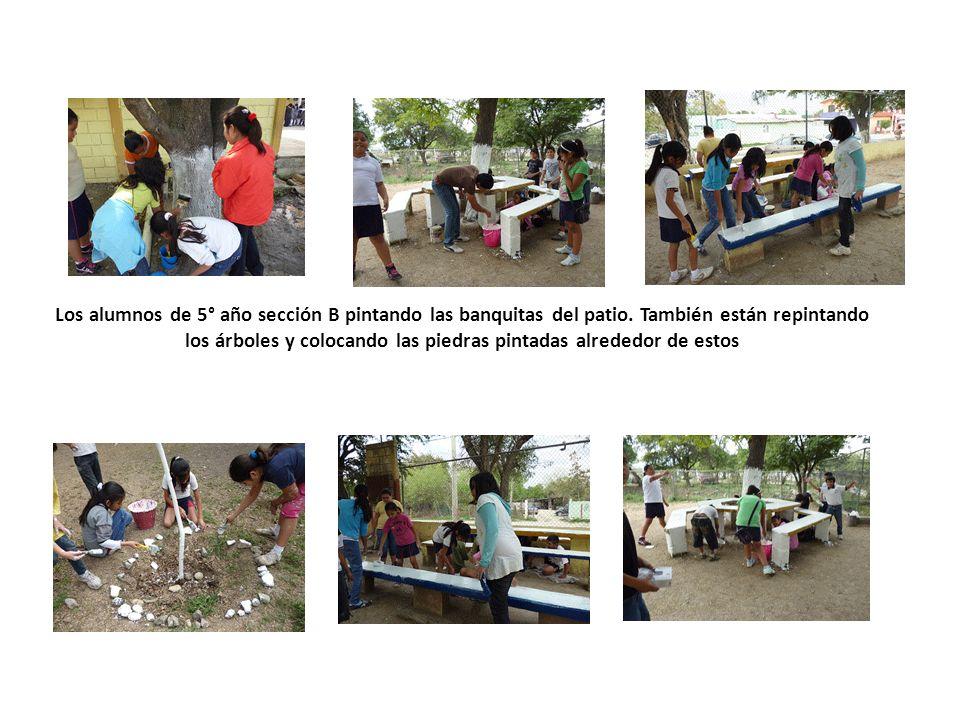 Los alumnos de 5° año sección B pintando las banquitas del patio