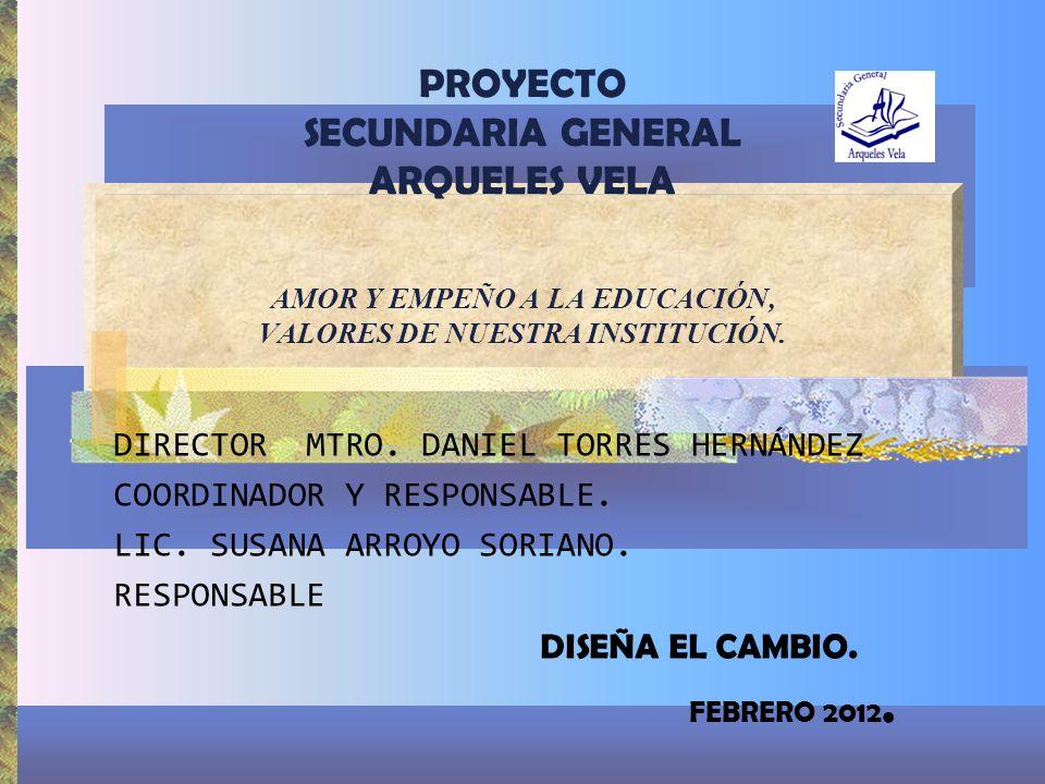 PROYECTO SECUNDARIA GENERAL ARQUELES VELA AMOR Y EMPEÑO A LA EDUCACIÓN, VALORES DE NUESTRA INSTITUCIÓN.