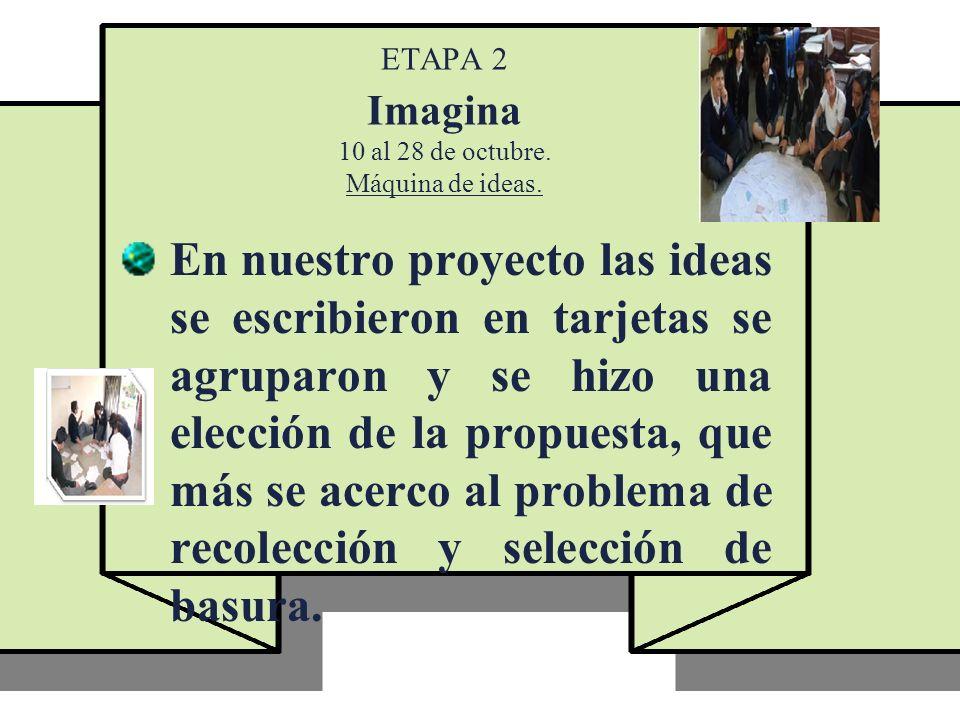 ETAPA 2 Imagina 10 al 28 de octubre. Máquina de ideas.