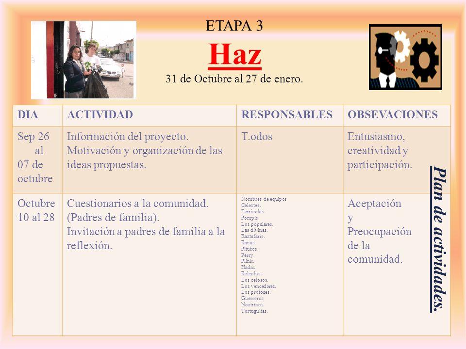 Haz Plan de actividades. ETAPA 3 31 de Octubre al 27 de enero. DIA
