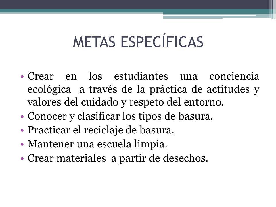 METAS ESPECÍFICAS
