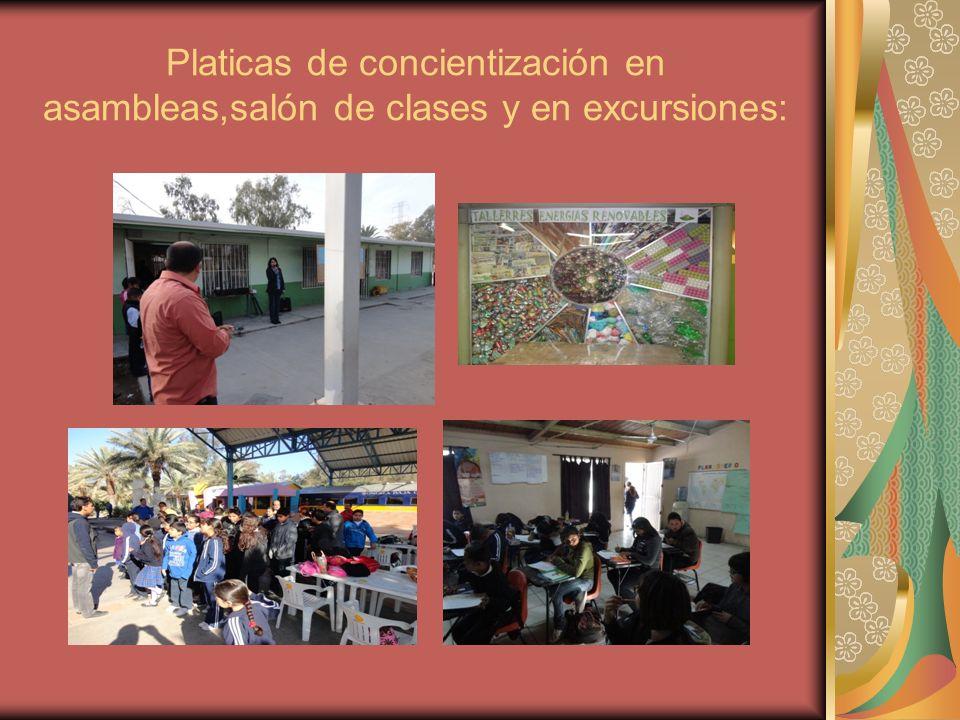 Platicas de concientización en asambleas,salón de clases y en excursiones: