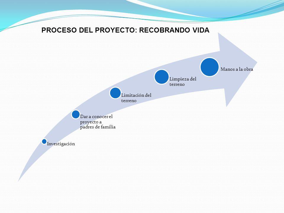 PROCESO DEL PROYECTO: RECOBRANDO VIDA