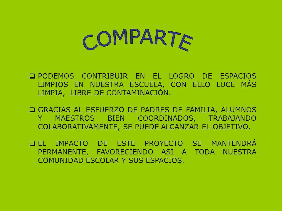 COMPARTE PODEMOS CONTRIBUIR EN EL LOGRO DE ESPACIOS LIMPIOS EN NUESTRA ESCUELA, CON ELLO LUCE MÁS LIMPIA, LIBRE DE CONTAMINACIÓN.