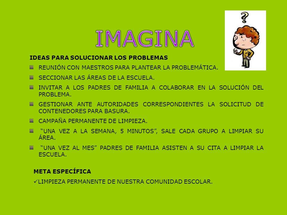 IMAGINA IDEAS PARA SOLUCIONAR LOS PROBLEMAS