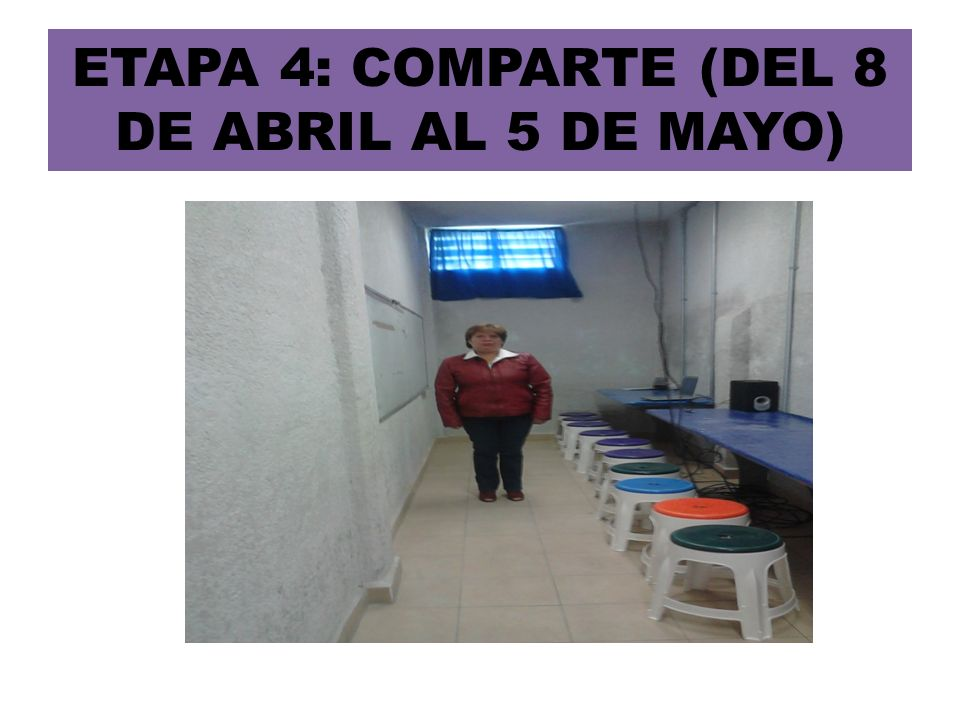 ETAPA 4: COMPARTE (DEL 8 DE ABRIL AL 5 DE MAYO)